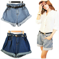 Free shipping summer shorts vintage high waist denim shorts wild curling leisure loose big yards female