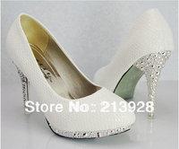 Hot fashion women's dress shoes White Snakeskin Heels  Fashion shoes  Free shipping