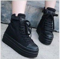 The trend of elevator platform white high platform canvas shoes casual shoes women's boots