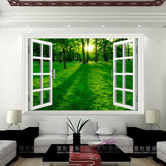 Sala Com Tv Na Janela ~ Mural sala tv parede decoração papel de parede janela papel de