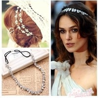 Min Order $10(Mix Order) 2013 Fashion Elegent Rhinestones Leaf Hairband Head Chain Hair Accessary Jewelry Designs for Women