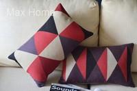 "Free Shipping 2 pcs/lot 20"" Rhombus Pattern Retro Vintage Linen Decorative Waist Pillow Case Pillow Cover Cushion Cover Set"