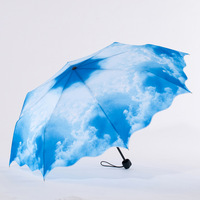 20% Off Special price High quality Anti-UV Waterproof Blue Sky &White Cloud Sun/Rain 3 Fold Umbrella, Free shipping