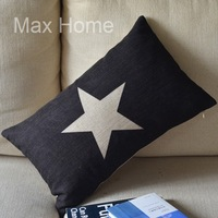 """Free Shipping 20"""" White Star Black Retro Vintage Style Linen Decorative Waist Pillow Case Pillow Cover Cushion Cover"""