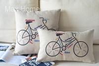 "Free Shipping 2 pcs/lot 18"" 20"" Colorful Maxim Bike Retro Vintage Linen Decorative Pillow Case Pillow Cover Cushion Cover Set"