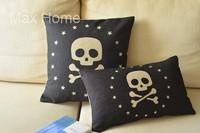 "Free Shipping 2 pcs/lot 18"" 20"" Skull Head Black Retro Vintage Style Linen Decorative Pillow Case Pillow Cover Cushion Cover Set"