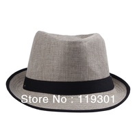 Hot Sale! 2013 Summer Beach Black Fedora Trilby Gangster Straw Panama Jazz  Mens Womens Unisex Hat Cap DHV4