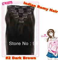"2#Dark Brown color  Full head 7PCS/SET 100%  Indian  hair Grade AAAA clip in hair extension 70g 80g 100g 15""-22""  20 colors"