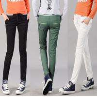 2013 100% multicolour cotton elastic waist casual trousers women's elastic pencil pants the trend of plus size pants