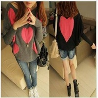 hot sale Free shipping summer sexy women clothing 5361 2013 double faced heart batwing sleeve loose soft quality sweater