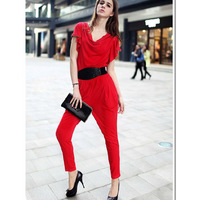 Women's plain short-sleeve jumpsuit casual skinny pants with belt decoration