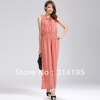 4 color Real pictures with model 2013 summer high quality peter pan collar chiffon women  jumpsuit fxm6003