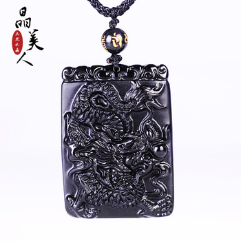 Natural obsidian long license pendant transhipped accessories apotropaic male gift