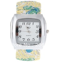 Trendy My's Bangle Design Quartz Watch with Rhinestone Decoration Leather & Steel Band for Women