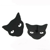 Min order is $10(mix order)Fashion personality punk cat brooch collar needle cats black collar clips brooches pins women XZ013