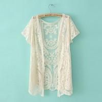 Women's 2013 summer fashion lace fashion candy color short-sleeve crochet cardigan shirt lace shirt