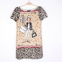 Women's 2013 fashion short-sleeve fashion lady leopard print chiffon one-piece dress
