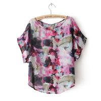 Women's guss 2013 fashion multicolour ink painting o-neck loose short-sleeve chiffon shirt