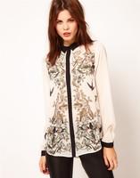 Women's 2013 spring fashion animal xiangsi bird print patchwork long-sleeve shirt chiffon shirt