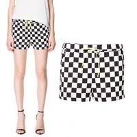 Women's 2013za classic black and white plaid color block decoration shorts casual pants