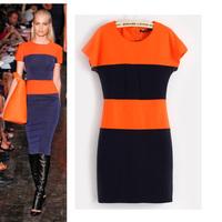 Women's 2013 summer fashion ruslana korshunova orange stripe short-sleeve dress slim