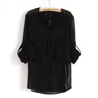 Women's 2013 spring and summer fashion big bag perspective sexy chiffon shirt long-sleeve shirt