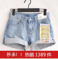 Summer new arrival 2013 u women's roll up hem denim shorts short design