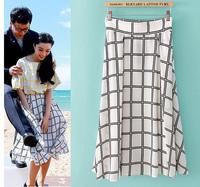 Women's fashion plaid fashion zipper skirt bust skirt