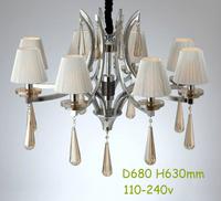 Epistar LED Candle Pendant Lights/Living Room/K9 Crystal/Hardware/Export/White Shape/Chain/Black Flannelette/Eight Light Holders