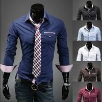New Fashion Korean Men's Shirt Long Sleeve Casual Slim Fit Polo Stylish Dress Shirts for Men Size M-XXL Free Shipping 9026