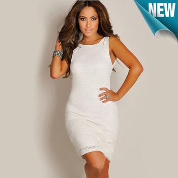 White Pencil Dress on Women Sexy White Lace Mini Dress Slash Neck O Neck Pencil Fit Cocktail
