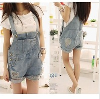 Free shipping Kaka 2013 summer distrressed loose denim suspenders shorts
