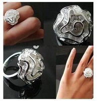 Min order is $9 Women fashion hibiscus flowers rose ring silver finger ring
