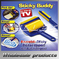 Sticky Buddy Picker Cleaner Reusable Rubber Built-in Fingers Roller Brush with Color Box 144 pcs by DHL/Fedex free shipping