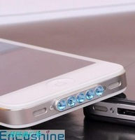 10Pcs/lot,Luxury Bling Bling Rhinestone Diamond Anti Charger Port Dust plug for iphone 4 4S,many colors,free shipping
