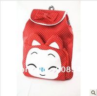 Best Selling!!fashion lovely bow canvas backpack high quality kids ladies cartoon bag school bag Free Shipping