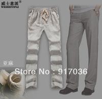 BIG DISCOUNT handsome high quality linen elastic waist  trousers plus size men's clothing fluid men's casual pants