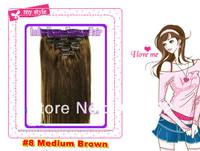 8#Medium  Brown color  Full head   clip on hair extension