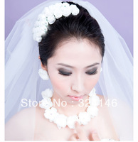 New Luxurious3 row white  rose garland + flower Romantic bridal jewelry for bride
