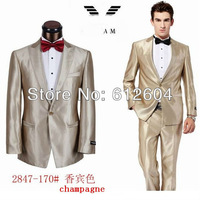 2013 fashion men suits set champagne men dress suits two pieces wedding suits men coat wih pants black white