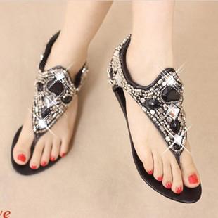 Fashion handmade star gem rhinestone lambdoid women's flip-flop shoes flat beaded flip diamond sandals