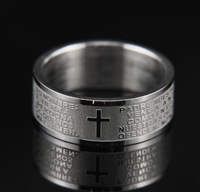 Free Shipping Men rings 2013 The Bible text titanium steel rings jewelry men