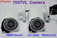 "2Pcs/lot Hottest CMOS Sensor,Color 1/3"" HDIS 700TVL 24LEDS Outdoor Waterproof  Security CCTV Camera Free Shipping"