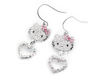 Fashion hello kitty wholesale, hello kitty jewelry earrings heart charm HT-1314 Girls'  jewelry