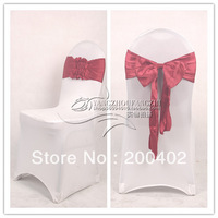 new desgin free shipping burgundy satin chair bow,easy to fit on chair  no tie by hand