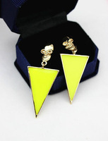 Popular ! trigonometric neon color skull earrings stud earring