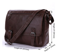 Hot Sale Vintage Tan Leather Men Classic Shoulder Messenger Bag Briefcase # 7022LB