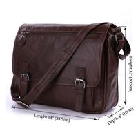 Hot Sale Vintage Tan Leather Men Classic Shoulder Messenger Bag Briefcase # 7022LB