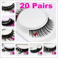 20 Box /Lot 10 Design Rhinestones  Decorations Natural Long False Eyelashes Makeup Eye Lash Beauty Bride Free Shipping With Case