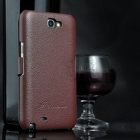 100% Retro Style Real Cowhide Flip Cover for Samsung Galaxy Note2 II N7100 Genuine Leather Case Lychee Pattern Skin